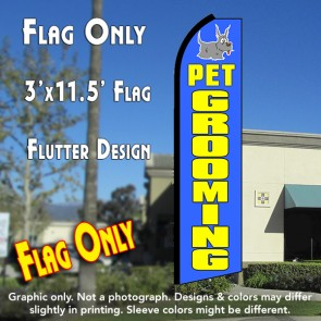 PET GROOMING (Blue) Flutter Feather Banner Flag (11.5 x 3 Feet)