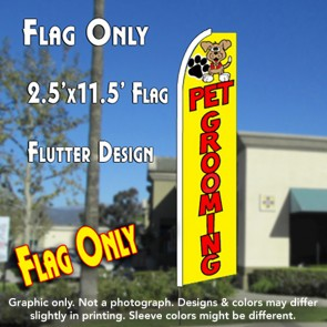 PET GROOMING (Yellow) Flutter Feather Banner Flag (11.5 x 2.5 Feet)