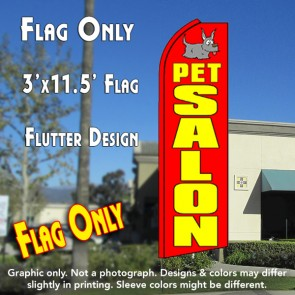 PET SALON (Red) Flutter Feather Banner Flag (11.5 x 3 Feet)
