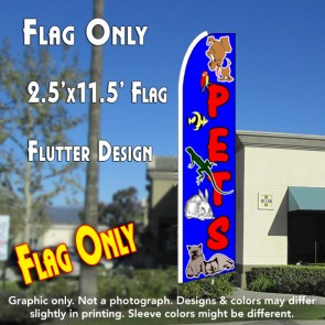 PETS (Blue) Flutter Feather Banner Flag (11.5 x 2.5 Feet)