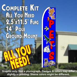 PETS (Blue) Flutter Feather Banner Flag Kit (Flag, Pole, & Ground Mt)