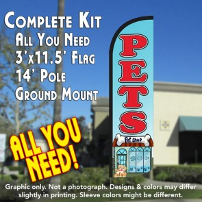 Pets Windless Feather Banner Flag Kit (Flag, Pole, & Ground Mt)
