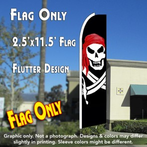 PIRATE (Red Bandana) Flutter Feather Banner Flag (11.5 x 2.5 Feet)