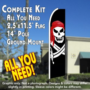 PIRATE (Red Bandana) Flutter Feather Banner Flag Kit (Flag, Pole, & Ground Mt)