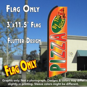 PIZZA BY THE SLICE (Orange) Flutter Feather Banner Flag (11.5 x 3 Feet)