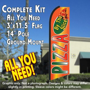PIZZA BY THE SLICE (Orange) Flutter Feather Banner Flag Kit (Flag, Pole, & Ground Mt)