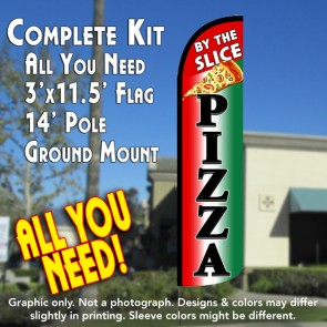 Pizza By The Slice (Tri-color/Black) Windless Feather Banner Flag Kit (Flag, Pole, & Ground Mt)