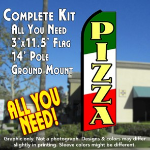 PIZZA (Tri-color) Flutter Feather Banner Flag Kit (Flag, Pole, & Ground Mt)