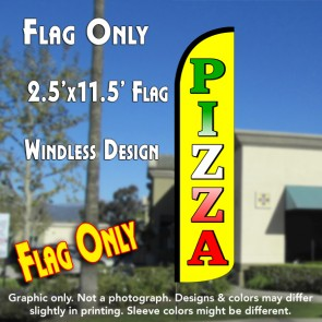 PIZZA (Yellow) Windless Polyknit Feather Flag (2.5 x 11.5 feet)