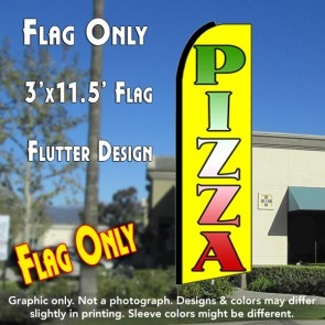 PIZZA (Yellow) Flutter Feather Banner Flag (11.5 x 3 Feet)