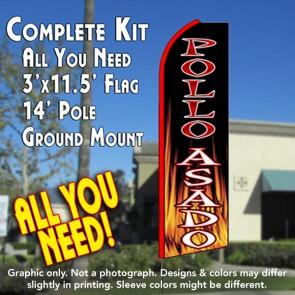 POLLO ASADO (Black/Flames) Flutter Feather Banner Flag Kit (Flag, Pole, & Ground Mt)