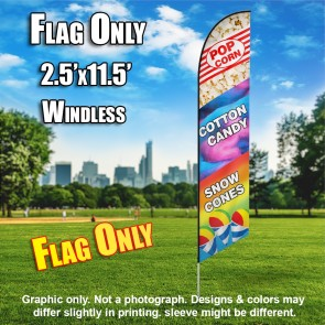 Popcorn, Cotton Candy, and Snow Cones (Multicolor) Windless Polyknit Feather Flag Only (3 x 11.5 feet)