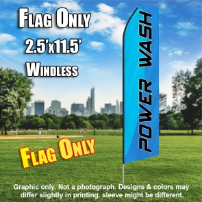 POWER WASH light blue black flutter flag