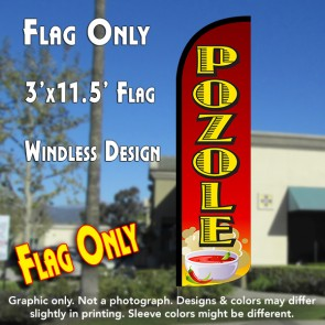 Pozole Windless Polyknit Feather Flag (3 x 11.5 feet)