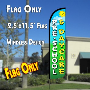 PRE-SCHOOL & DAYCARE Windless Polyknit Feather Flag (2.5 x 11.5 feet)