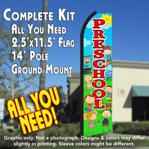 PRESCHOOL (Scene/Red) Flutter Feather Banner Flag Kit (Flag, Pole, & Ground Mt)