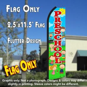 PRESCHOOL (Scene/Red) Flutter Polyknit Feather Flag (11.5 x 2.5 feet)