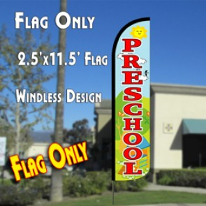 PRESCHOOL (Scene) Windless Polyknit Feather Flag (2.5 x 11.5 feet)