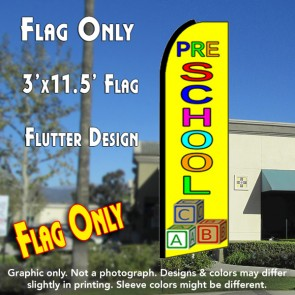 PRESCHOOL (Yellow) Flutter Feather Banner Flag (11.5 x 3 Feet)
