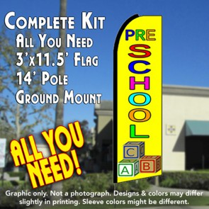 PRESCHOOL (Yellow) Flutter Feather Banner Flag Kit (Flag, Pole, & Ground Mt)