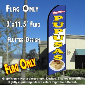 PUPUSAS (Blue/White) Flutter Feather Banner Flag (11.5 x 3 Feet)