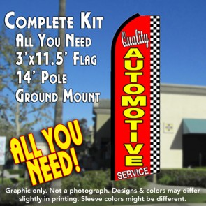 QUALITY AUTOMOTIVE SERVICE (Checkered) Flutter Feather Banner Flag Kit (Flag, Pole, & Ground Mt)