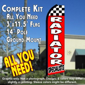 RADIATOR SPECIALISTS (Checkered) Flutter Feather Banner Flag Kit (Flag, Pole, & Ground Mt)