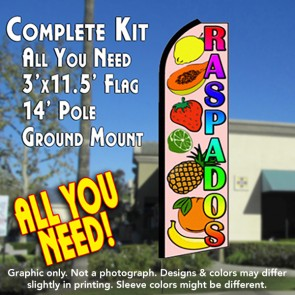 RASPADOS (Smoothies) Flutter Feather Banner Flag Kit (Flag, Pole, & Ground Mt)