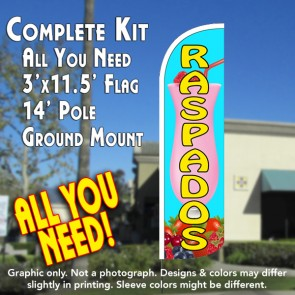 Raspados (Smoothies) Windless Feather Banner Flag Kit (Flag, Pole, & Ground Mt)