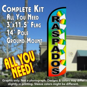 Raspados (Snow Cone) Windless Feather Banner Flag Kit (Flag, Pole, & Ground Mt)