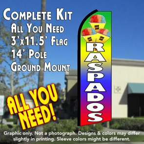 RASPADOS (Snow Cones) Flutter Feather Banner Flag Kit (Flag, Pole, & Ground Mt)