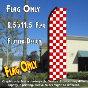 Checkered RED/WHITE Flutter Polyknit Feather Flag (11.5 x 2.5 feet)