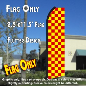 Checkered RED/YELLOW Flutter Polyknit Feather Flag (11.5 x 2.5 feet)