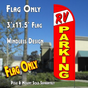 RV PARKING Windless Feather Banner Flag (11.5 x 3 Feet)