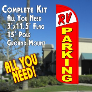 RV PARKING Windless Feather Banner Flag Kit (Flag, Pole, & Ground Mt)