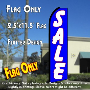 SALE (Blue/White) Flutter Polyknit Feather Flag (11.5 x 2.5 feet)