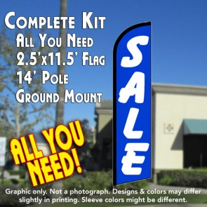 SALE (Blue/White) Windless Feather Banner Flag Kit (Flag, Pole, & Ground Mt)