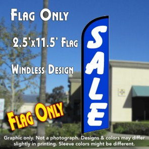 SALE (Blue/White) Windless Feather Banner Flag (2.5 x 11.5 Feet)