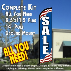 SALE (Patriotic) Windless Feather Banner Flag Kit (Flag, Pole, & Ground Mt)