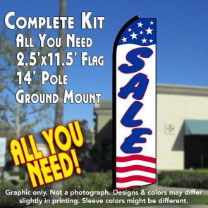 SALE (Stars & Stripes) Flutter Feather Banner Flag Kit (Flag, Pole, & Ground Mt)