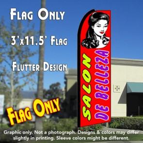 SALON DE BELLEZA (Red) Flutter Feather Banner Flag (11.5 x 3 Feet)
