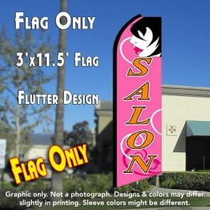 SALON (Pink) Flutter Feather Banner Flag (11.5 x 3 Feet)