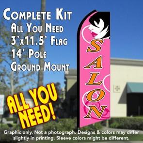 SALON (Pink) Flutter Feather Banner Flag Kit (Flag, Pole, & Ground Mt)