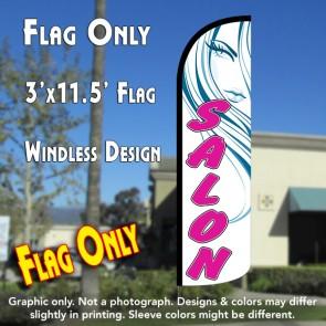 Salon (White/Pink) Windless Polyknit Feather Flag (3 x 11.5 feet)