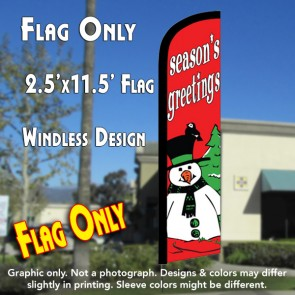 SEASON'S GREETINGS (Snowman) Windless Feather Banner Flag (2.5 x 11.5 Feet)