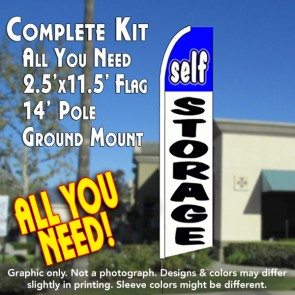 SELF STORAGE (Blue/White) Flutter Feather Banner Flag Kit (Flag, Pole, & Ground Mt)