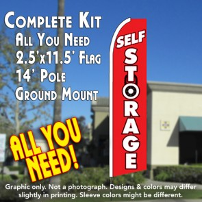 SELF STORAGE (Lock) Flutter Feather Banner Flag Kit (Flag, Pole, & Ground Mt)