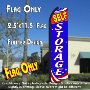 SELF STORAGE (Patriotic) Flutter Polyknit Feather Flag (11.5 x 2.5 feet)