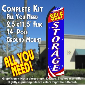 STORAGE (Patriotic) Flutter Feather Banner Flag Kit (Flag, Pole, & Ground Mt)