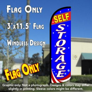 SELF-STORAGE (Red/White/Blue) Windless Polyknit Feather Flag (3 x 11.5 feet)